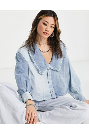 Free People Daisy Baby collar detail denim shirt in blue