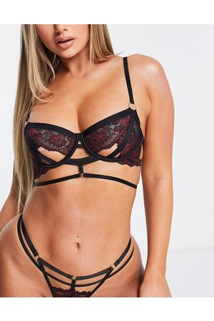 Hunkemöller Piper non padded open cup detail contrast lace bra in black and red