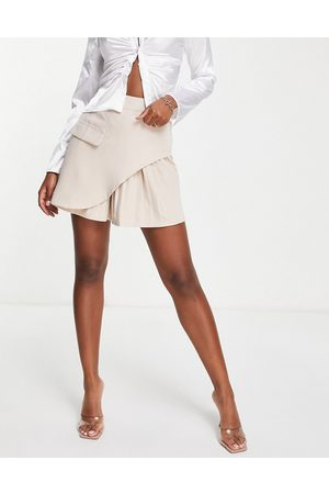 I saw it first Mini skirt with pleat detail co ord in stone-Neutral
