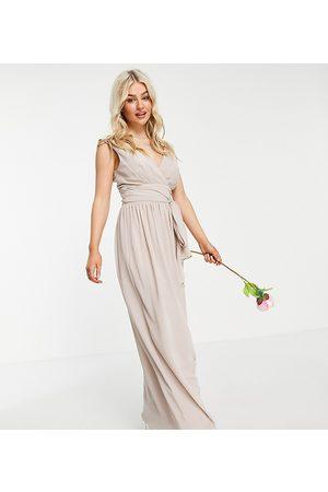 TFNC Ženy Zavinovací - Bridesmaid top wrap chiffon dress in pink