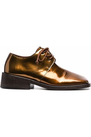 MARSÈLL Leather metallic-effect oxford shoes