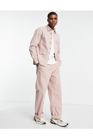 ASOS Co-ord wide fit trousers with pleats in pink