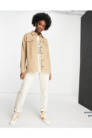 ASOS Fluffy suit shacket co-ord in camel-Neutral
