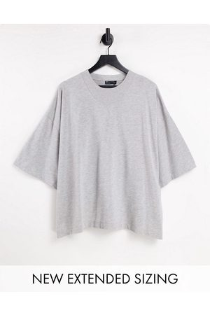 ASOS Muži Trička - Oversized t-shirt with neck detail and half sleeve in grey marl