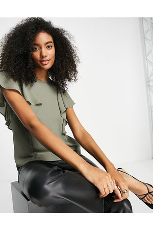 ASOS High neck blouse with frill sleeve detail in khaki-Green