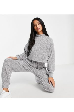 ASOS ASOS DESIGN Petite supersoft high neck tracksuit / jogger in grey