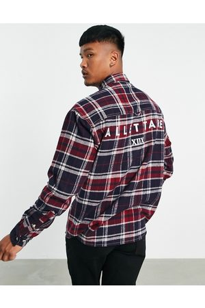 ASOS Muži Volnočasové - 90s oversized shirt in brushed flannel check with back text print-Red