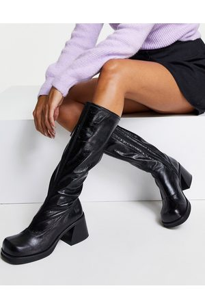 Topshop Tango knee high leather boot in black