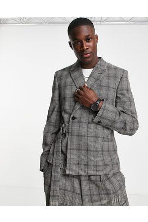 ASOS Crop suit jacket in check in grey
