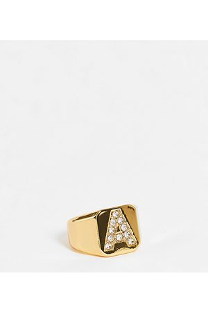ASOS ASOS DESIGN Curve 14k gold plated A initial ring