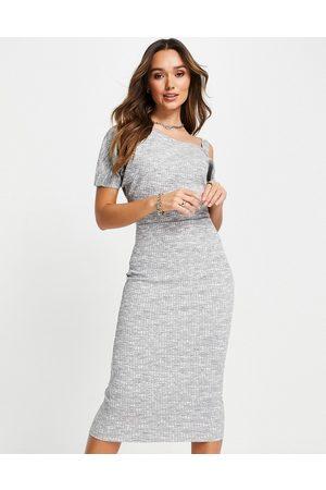 River Island Space dye asymmetric midi dress in grey marl