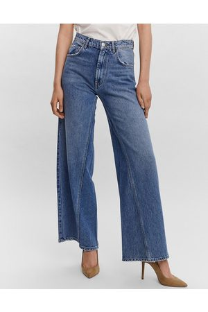 VERO MODA Aware wide leg jeans with seam detail in washed blue