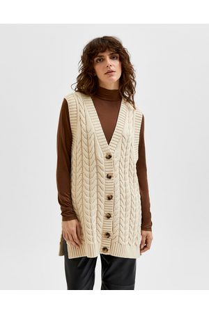 Selected Femme cable knit waistcoat in cream-White