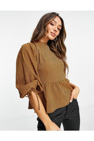 Lola May Open back blouse in tan gingham-Brown
