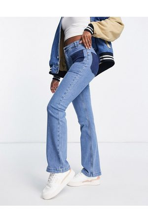 French Connection Rony 70's flare jeans in two tone colour block denim-Blue
