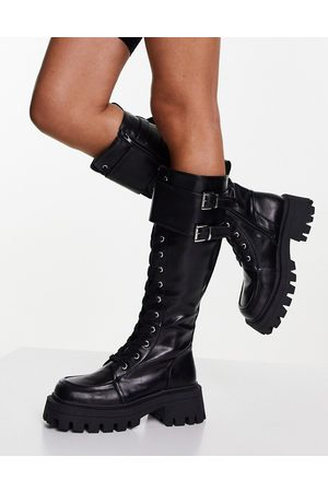 ASOS Cranberry chunky lace up knee boots in black