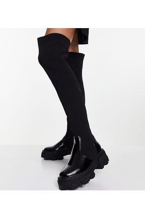ASOS Wide Fit Kimmy flat chunky over the knee boots in black