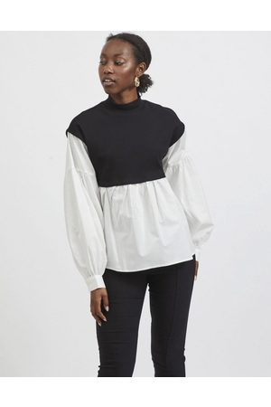 VILA 2 in 1 knitted cropped vest and shirt in mono-Multi