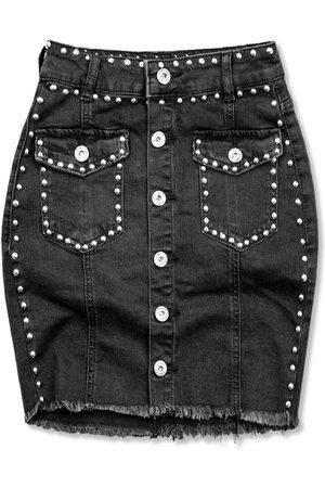 VaE Ženy Džínové sukně - Černá jeans sukně se stříbrnými nýty