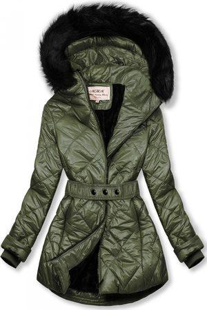 VaE Khaki lesklá zimní bunda s páskem