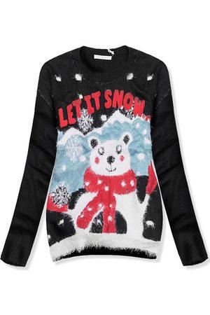VaE Ženy Lyžařské vybavení - Černý svetr LET IT SNOW