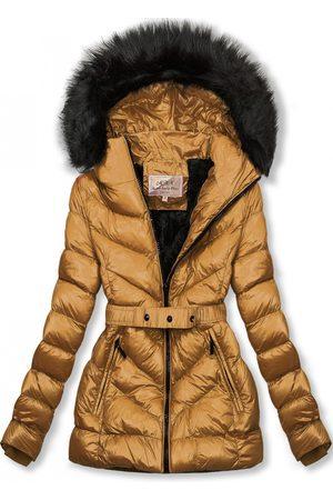 VaE Karamelová zimní krátká bunda s černou kožešinou