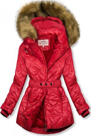 VaE Ženy Péřové bundy - Červená lesklá zimní bunda s páskem