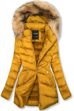 VaE Ženy Péřové bundy - Prošívaná přechodná bunda žlutá