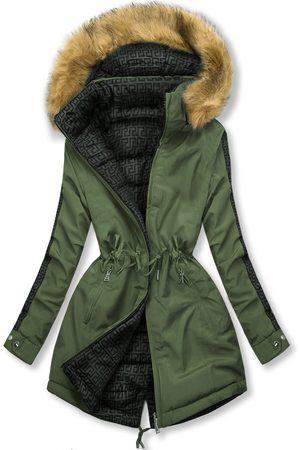 VaE Ženy Péřové bundy - Khaki prošívaná oboustranná bunda