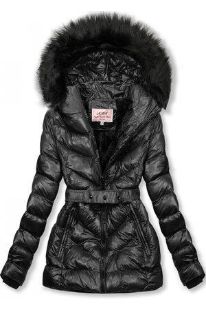VaE Ženy Péřové bundy - Černá zimní krátká bunda s černou kožešinou