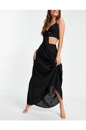 Esmée Ženy Maxi - Esmee Exclusive maxi beach prairie skirt co-ord in black