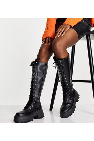 ASOS Ženy Nad kolena - Wide Fit Carter chunky lace up knee boots in black