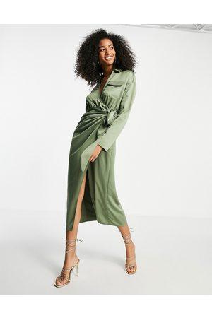 ASOS Satin collared wrap midi shirt dress in khaki-Green