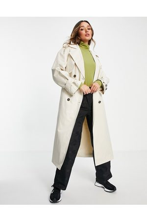 ASOS Trench coat with tie in ecru-White