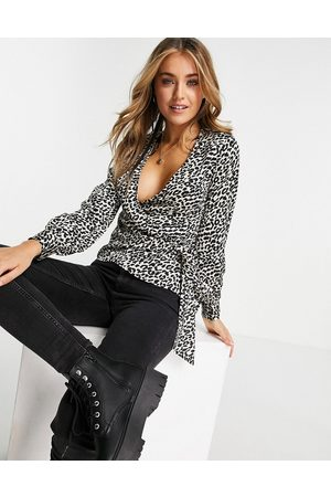 Lipsy London Wrap blouse in animal-Multi