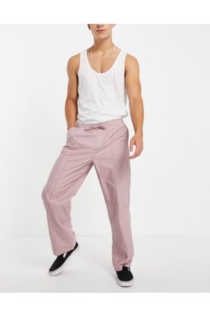 ASOS Wide fit trousers with pin tuck in pink