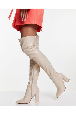 Truffle Collection Ženy Nad kolena - Thigh high heeled boots in cream-White