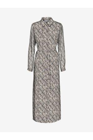 VERO MODA Ženy S potiskem - Černo-krémové dámské vzorované košilové maxišaty Rylee