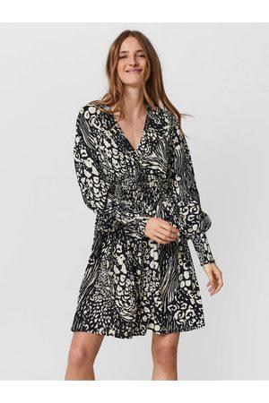 VERO MODA Krémovo-černé dámské vzorované šaty s balonovými rukávy Caia