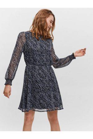 VERO MODA Modré dámské vzorované šaty s transparentními rukávy Rylee