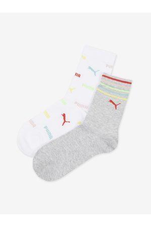 PUMA Sada dvou párů holčičích ponožek v šedé a bílé barvě Logo Aop Sock
