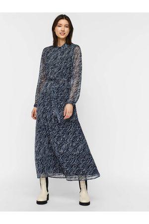 VERO MODA Černo-modré dámské vzorované košilové maxišaty Rylee