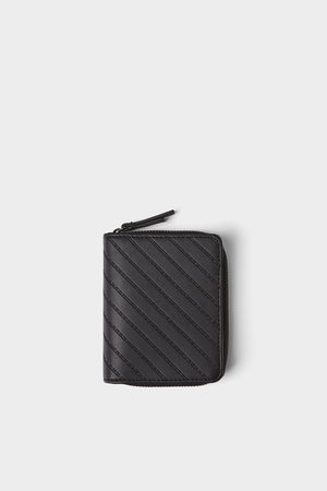 Zara černá peněženka s modrými detaily