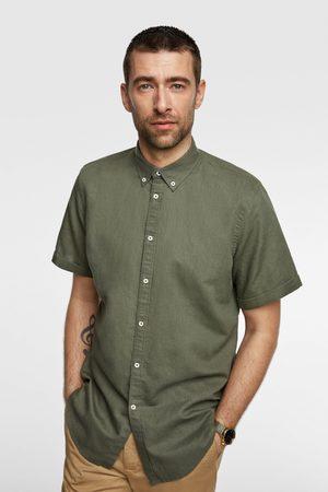 Zara Rustikální košile s krátkým rukávem