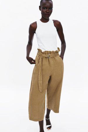 Zara široké lněné kalhoty s páskem