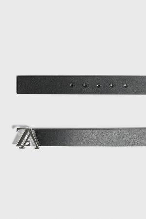 Zara Kožený pásek s přezkou s logem