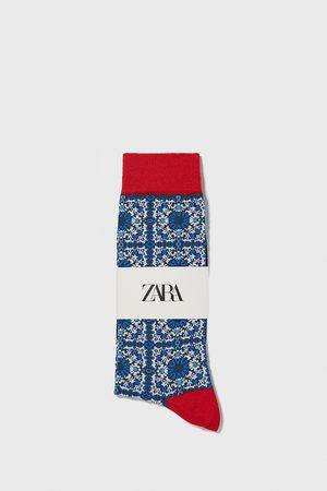 Zara Ponožky z mercerizované bavlny s geometrickým žakárem