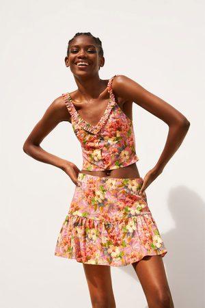 Zara šortková sukně s květinovým potiskem