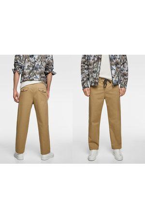 Zara Muži Široké nohavice - široké kalhoty s ohrnutím
