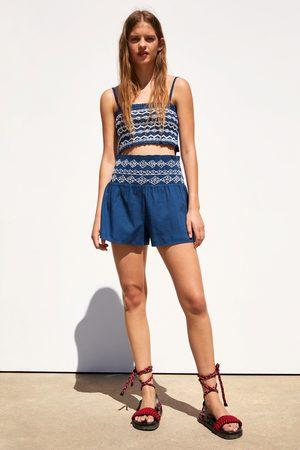 Zara Bermudy s elastickým pasem a výšivkou